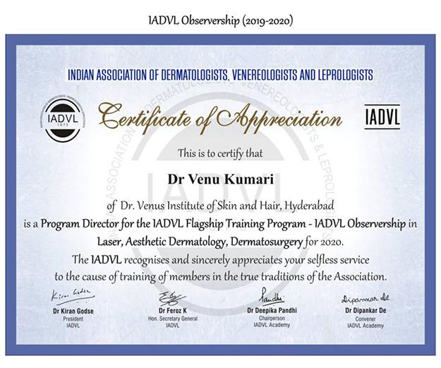 Dr.Venu Kumari Certification